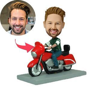 UK Sales-Man On Motorcycle Custom Bobblehead