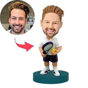 UK Sales-Tennis Player On the Court Custom Bobblehead