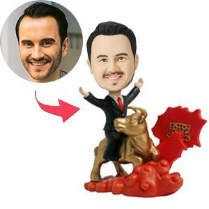 UK Sales-Man Riding Golden Bull Custom Bobblehead