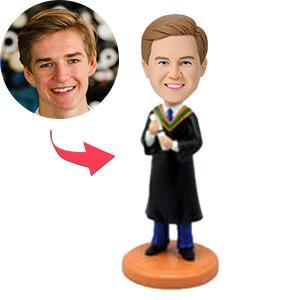 UK Sales-Male Graduate Holding Diploma Custom Bobblehead