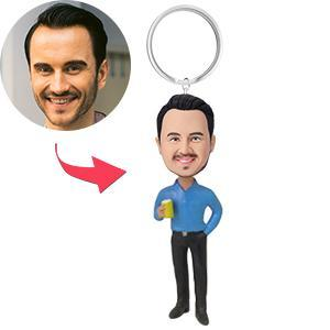 UK Sales-Casual Male With Drink Custom Bobblehead Key Chain