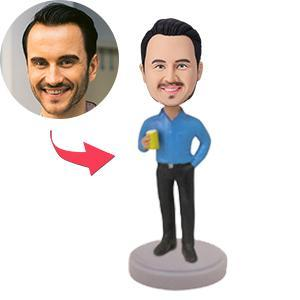 UK Sales-Casual Male With Drink Custom Bobblehead