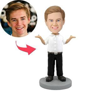 UK Sales-Male Occupation Dressed In Business Casual With Arms Raised Custom Bobblehead