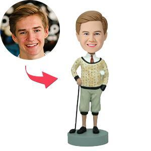 UK Sales-Golfer In Traditional Attire Custom Bobblehead