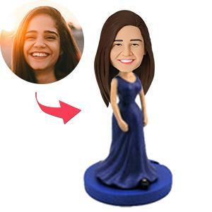 UK Sales-Woman In Elegant Blue Gown Custom Bobblehead