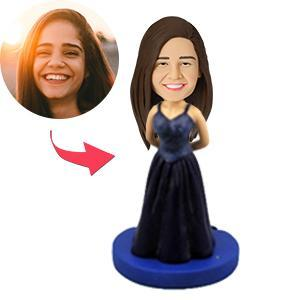 UK Sales-Woman In Evening Dress Custom Bobblehead