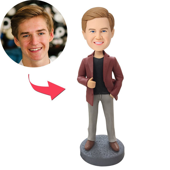 UK Sales-Man In Leather Jacket Custom Bobblehead