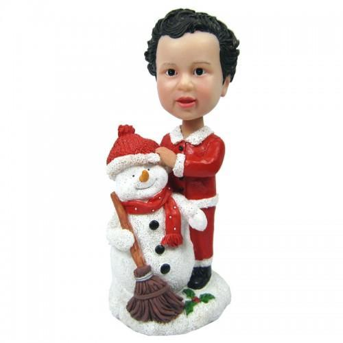 UK Sales-Christmas Gift Child with Snowman Custom Bobblehead