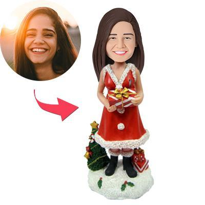 UK Sales-Christmas Gift Lady with Gifts Custom Bobblehead