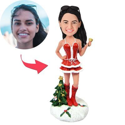 UK Sales-Christmas Gift Sexy Woman Ringing Bell Custom Bobblehead