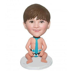 UK Sales-Kid With Diaper And A Blue Tie Custom Bobblehead