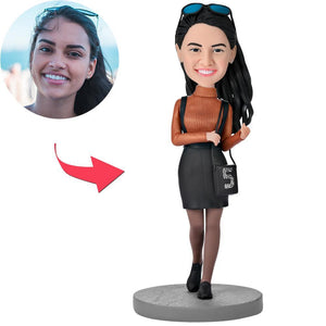 UK Sales-Fashion Beautiful Girl With A Bag Custom Bobbleheads