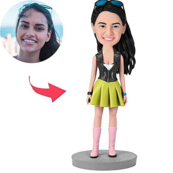UK Sales-Female Wearing Green Dress Custom Bobbleheads With Engraved Text