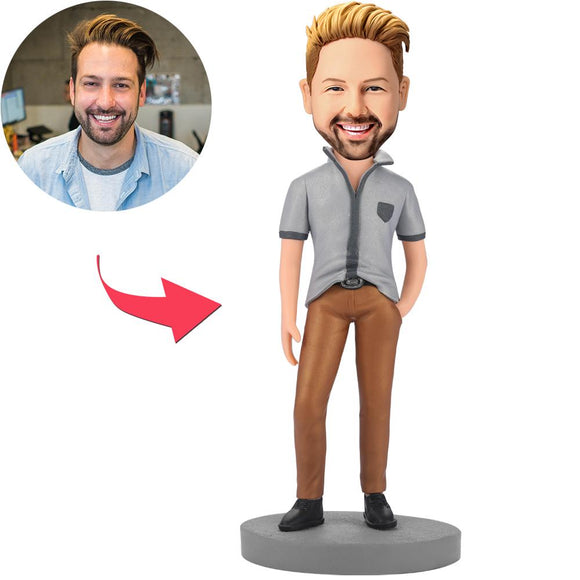 UK Sales-Cool Fashion Man Custom Bobbleheads With Engraved Text