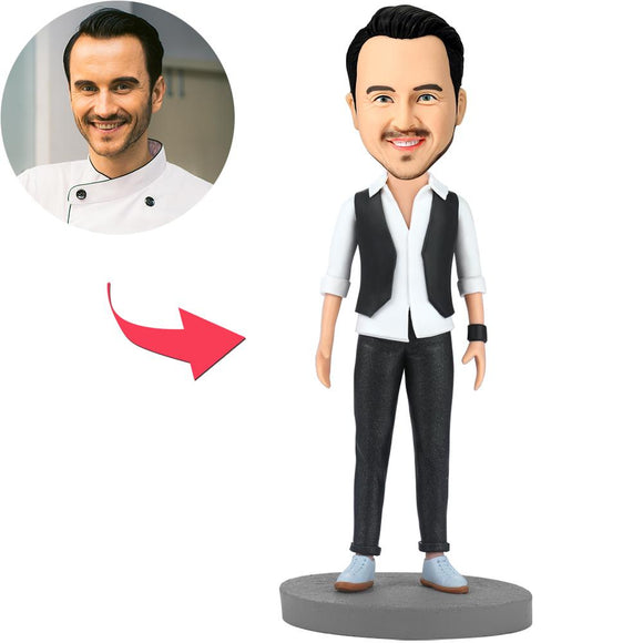 UK Sales-Handsome Modern Man Custom Bobbleheads With Engraved Text