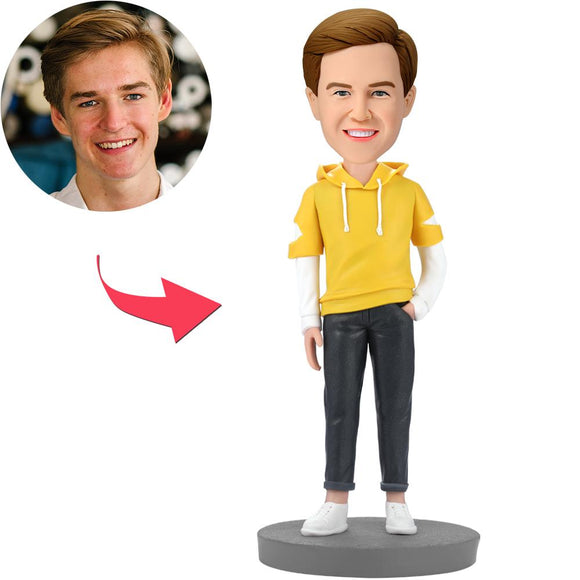 UK Sales-Fashion Man Wearing Yellow Hoodie Custom Bobbleheads With Engraved Text