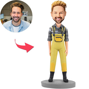 UK Sales-Fashion Man In Yellow Bib Pants Custom Bobbleheads With Engraved Text