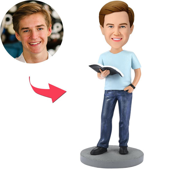UK Sales-Modern Reading Book Man Custom Bobbleheads With Engraved Text