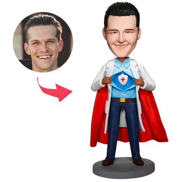 UK Sales-Super Doctor With Medical Shield Custom Bobbleheads