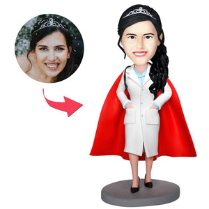 UK Sales-Super Female Doctor With White Coat Custom Bobbleheads
