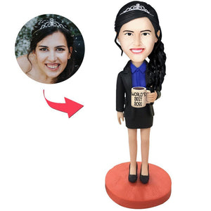 UK Sales-Female Boss Custom Bobbleheads With Engraved Text