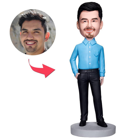 UK Sales-Executive Man In Blue Shirt Custom Bobbleheads
