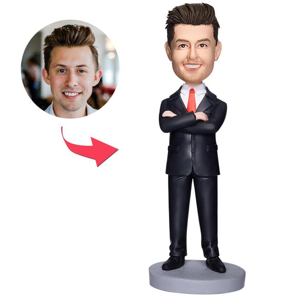 UK Sales-Business Man Arms Folded Custom Bobbleheads