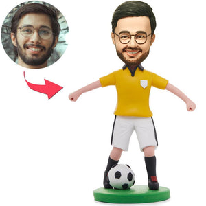 UK Sales-Soccer/football Player Dribbling In Yellow Shirt Custom Bobbleheads With Engraved Text
