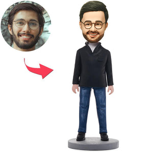 UK Sales-Fashion Casual Man Custom Bobbleheads With Engraved Text