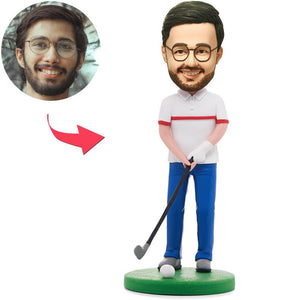UK Sales-Happy Golfer Man Custom Bobbleheads With Engraved Text
