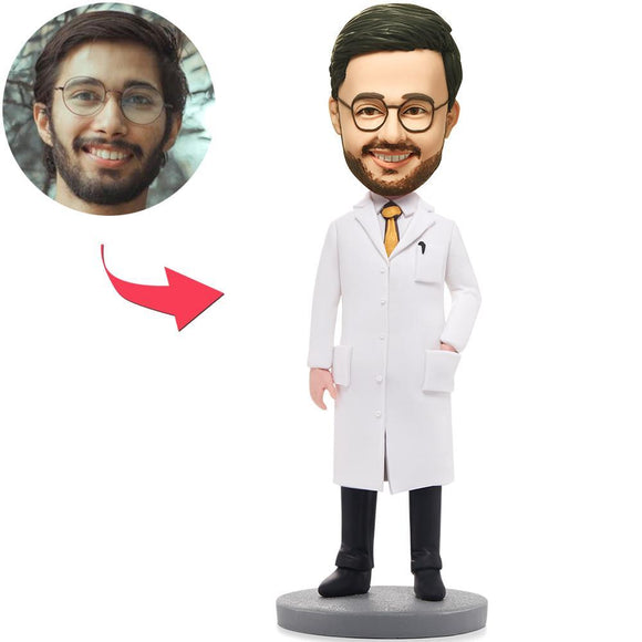 UK Sales-Wise Man In Lab Coat Custom Bobbleheads With Engraved Text