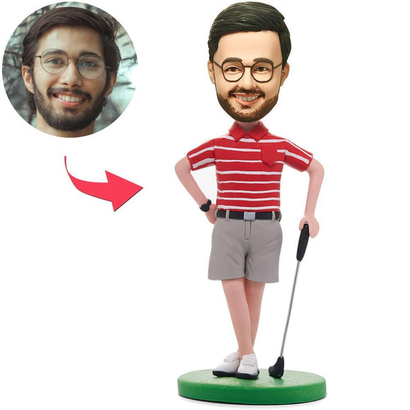 UK Sales-Golfer Posing In Red Shirt Custom Bobbleheads With Engraved Text