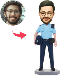 UK Sales-Male Police Officer Custom Bobbleheads With Engraved Text