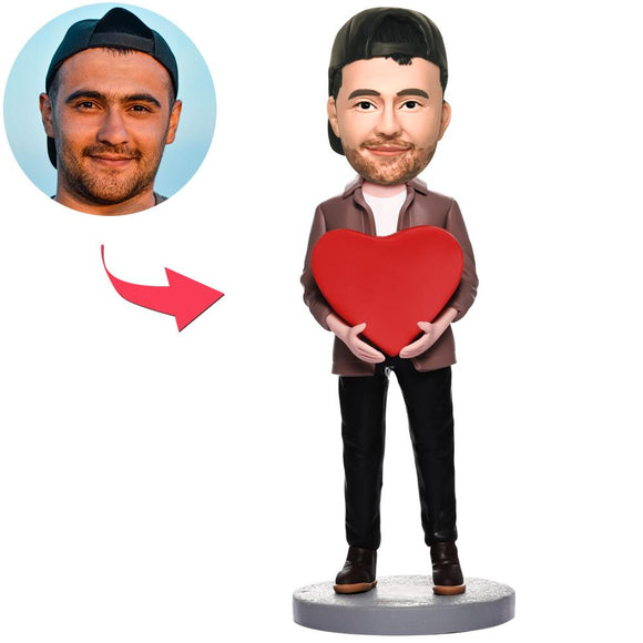 UK Sales-Man With Heart Custom Bobbleheads With Engraved Text