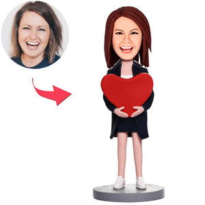 UK Sales-Woman With Heart Custom Bobbleheads With Engraved Text
