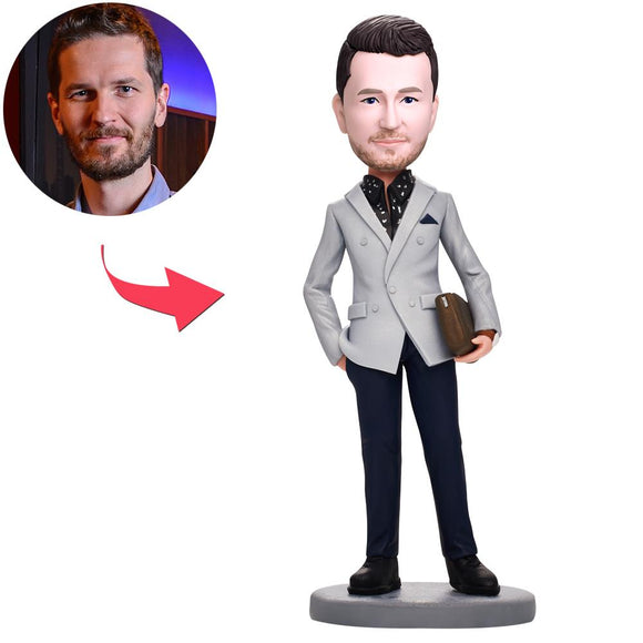UK Sales-Business Man With Bag Custom Bobbleheads With Engraved Text