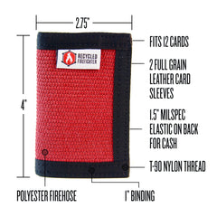 Mens Bifold Wallet with Money Clip, Fire Hose Wallet, Firefighter wallet by Recycled Firefighter