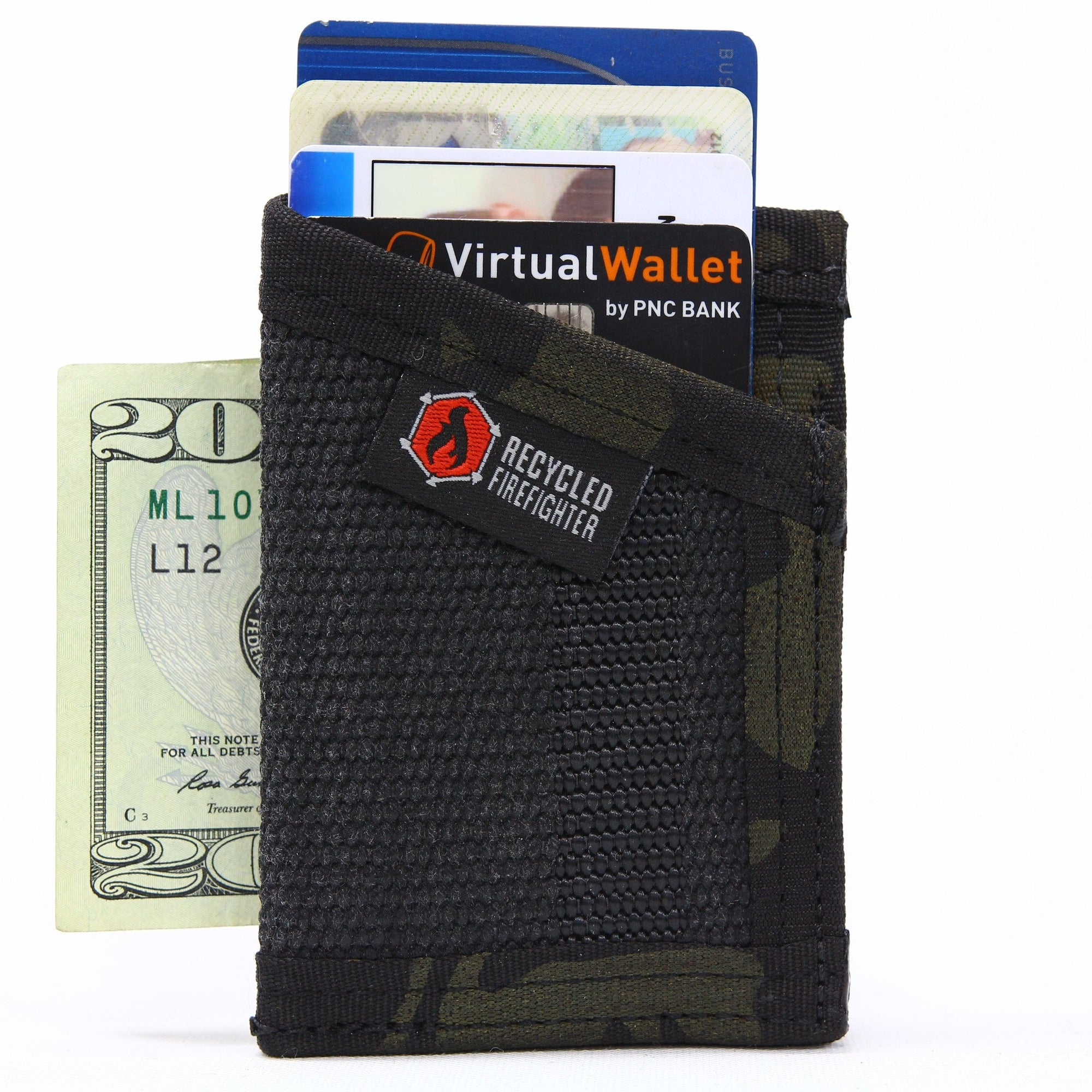 Front Pocket Minimalist Wallet With Money Clip by Recycled Firefighter
