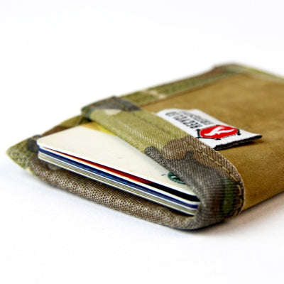 Leather Card Wallet with Money Clip, made in the USA out of combat boot leather