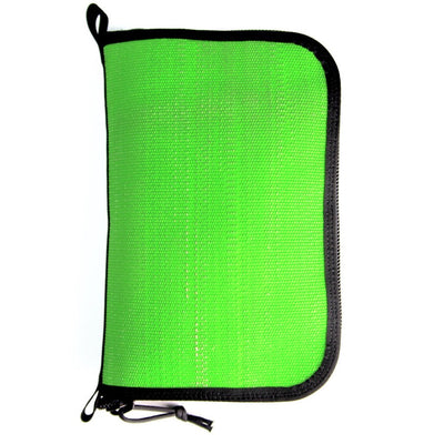 Fire Hose Zippered Pouch - Large Green & Black Bag