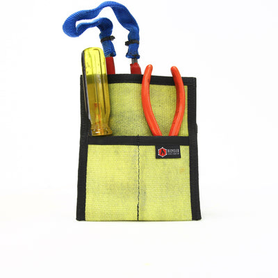 Fire Hose Firefighter Tool Pouch Yellow & Black Zippered Bag