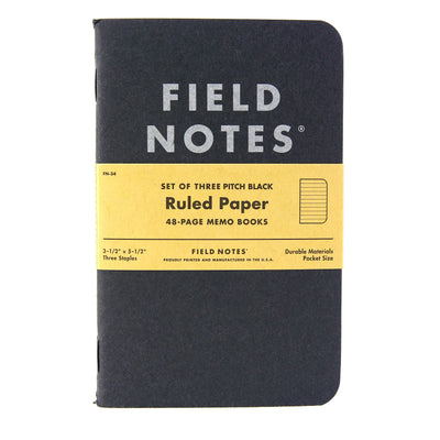 Field Notes Notebook Black Ruled 3Pack