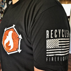 American Apparel 2001 cotton t shirt. usa made by recycled firefighter