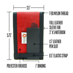 RiteintheRain notebook cover, Fire Hose, Full Grain Leather by Recycled Firefighter