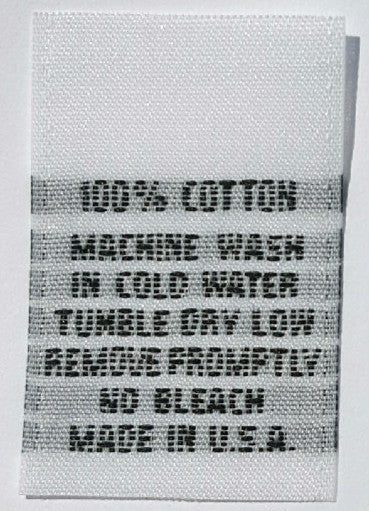 White 100% Cotton Machine Wash Woven Clothing Sewing Garment Care Label Tags (50-1000pcs)