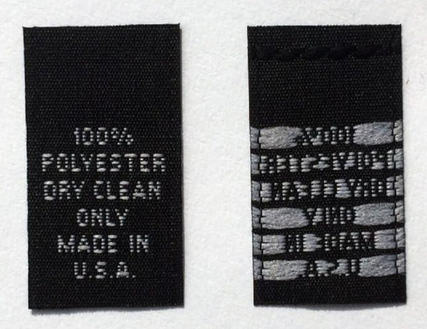 Black Woven Clothing Sewing Garment Care Label Tags - 100% Polyester Dry Clean Only Made in USA (50-1000pcs)