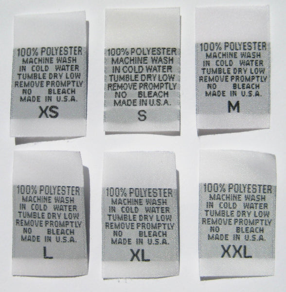 White 100% Polyester XS-XXL Woven Clothing Sewing Garment Care Label Tags (100-1000pcs)