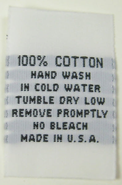 White 100% Cotton Hand Wash Woven Clothing Sewing Garment Care Label Tags (50-1000pcs)
