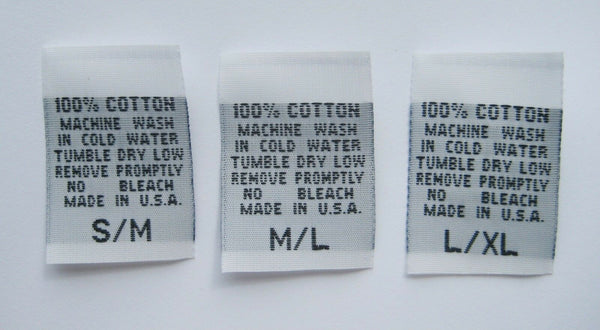 White 100% Cotton S/M M/L L/XL Woven Clothing Sewing Garment Care Label Tags (100-1000pcs)