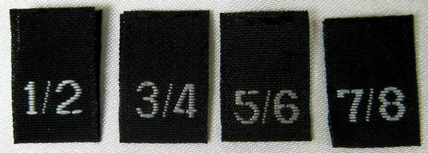 Bundle Size 1/2, 3/4, 5/6, 7/8 Black Woven Clothing Sewing Garment Label Size Tags (100-1000pcs)
